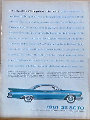 Vintage 1960 magazine ad for DeSoto - 1961 model, much to offer