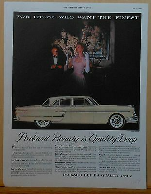 1954 magazine ad for Packard - Packard Beauty is Quality Deep, white Packard