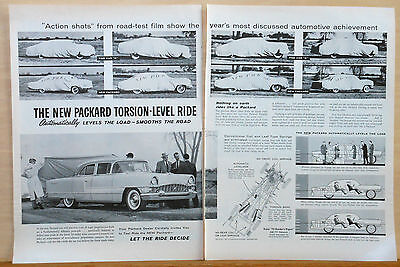 1955 two page magazine ad for Packard - Road Test photos, Torsion-Level ride