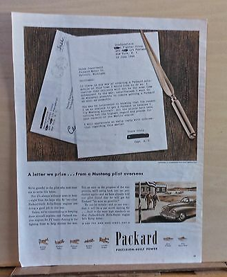 1945 magazine ad for Packard - letter from Mustang pilot, WW2 ad, plane engines