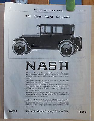 Vintage 1923 magazine ad for Nash - Carriole, superiorities of Performance