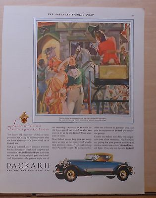 1930 magazine ad for Packard - early 18th century Tandem Driving , Lux Transport