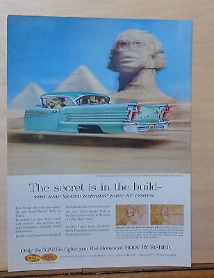 """1958 magazine ad for Oldsmobile - """"98"""" Holiday Coupe zooms past Sphinx"""
