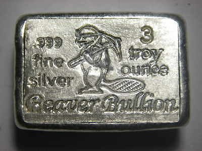 Beaver Bullion hand poured Canadian 3 troy ounce 999 fine silver bar