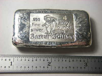 Beaver Bullion hand poured Canadian 4 troy ounce 999 fine silver bar