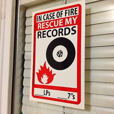 """In Case Of Fire RESCUE MY RECORDS Sticker Vinyl Decal LP DJ 45 7"""" Rsd Store Day"""