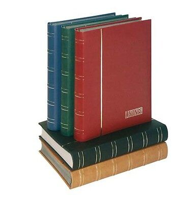 Lindner 1180-R Stockbook LUXUS Nubuk with 60 white pages, 230 x 305 x 55 mm, red