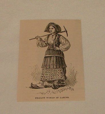 small 1879 magazine engraving ~ PEASANT WOMAN OF LAURUNS, France