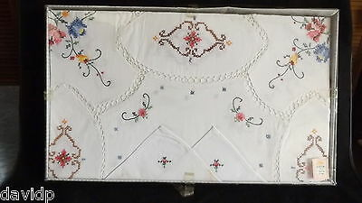 "VINTAGE GEN HM 9 PC EMBROIDERED & FILET CROCHET LINEN TABLE CLOTH SET 72x90"" MIP"