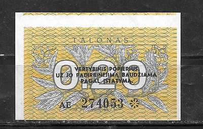 Lithuania #30 1991 Uncirculated Mint .20 Talonas Banknote Bill