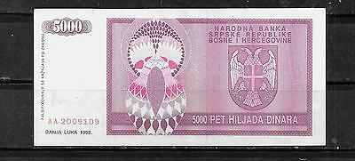 SERBIA #138a 1992 XF CIRC 5000 DINARA CURRENCY BANKNOTE BILL NOTE PAPER MONEY