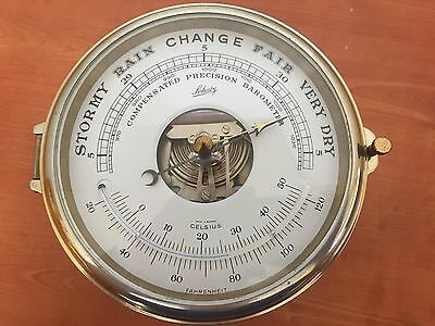 Vintage Brass Schatz Compensated Precision Ships Barometer Thermometer W Germany