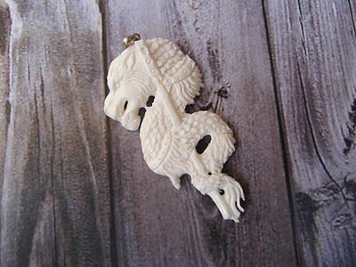 Pendant Necklace China Dragon from Buffalo Bone Carved with Silver Bail 925_w566