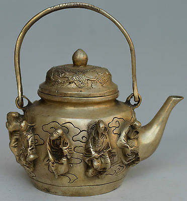 Collectible Decorated Silver Plate Copper Carved 8 Immortal Tea Pot