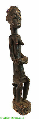 Baule Seated Maternity Figure 20 Inch African Art