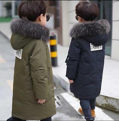 2017 HOT Kids Boys Real Fur Hooded Duck Down Thicken Down Jacket Coat size 4-13Y
