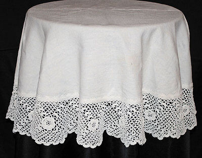 "Antique Victorian  Doily Centerpiece 49"" Round Wide Irish Crochet Trim"