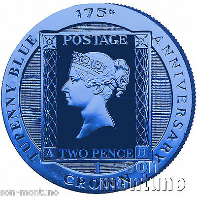 TWO PENCE BLUE - 2015 Ascension Island .925 SILVER TUPENNY Stamp Coin in BOX+COA