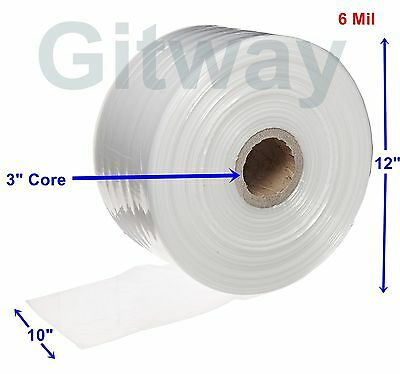 "10"" x 725' Clear Poly Tubing Tube Plastic Bag Polybags Custom Bags on Roll 6ML"