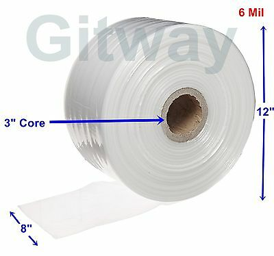 "8"" x 725' Clear Poly Tubing Tube Plastic Bag Polybags Custom Bags on a Roll 6ML"