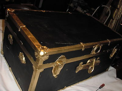 Antique Streamer Trunk Or Chest Or Coffee Table