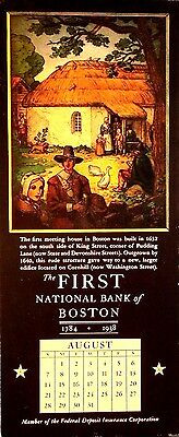 Ink Blotter - Very Rare 1938 Calendar - The First National Bank Of Boston