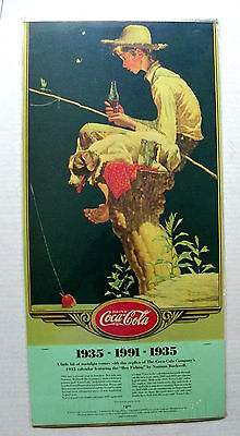"1991 ""drink Coca-Cola"" Reproduction Of 1935 N. Rockwell ""boy Fishing"" Calendar"