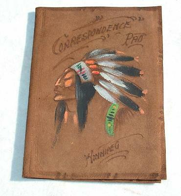 ANTIQUE c.1900 CANADIAN WINNIPEG INDIAN LEATHER PAINTED LETTER WALLET