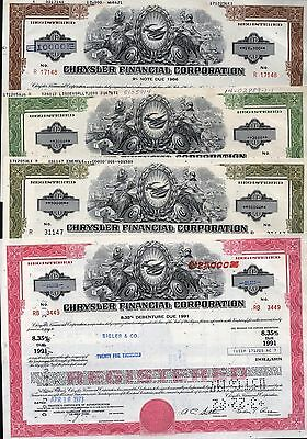 4 Diff. Chrysler Financial Corp. Debentures Red + Green + Brown + Olive