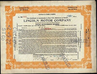 Lincoln Motor Company, 1921 Early Lincoln Motor Car Stock Certificate