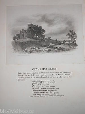 Original Antique JAMES STARK Engraving of Whitlingham Church in Norwich, 1838