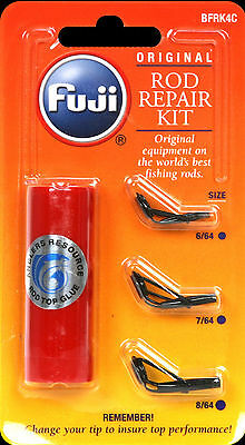 New Fuji Fishing Rod  Guide Tip Repair Kit 3 Sizes + Glue- Bfrk4C / Black