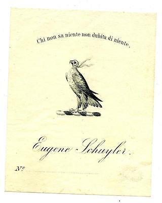 Eugene Schuyler 1800s Antique Bookplate Engraving Etching Famous American Author