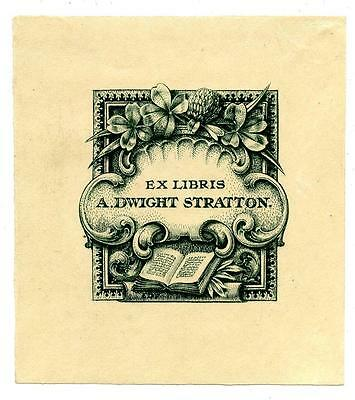 A. Dwight Stratton Antique Bookplate Engraving Etching Ex Libris Flowers