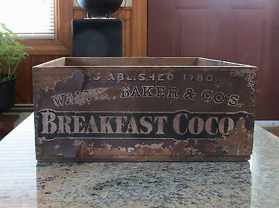 Vintage Walter, Baker & Co. Breakfast Cocoa Finger Jointed Wooden Crate