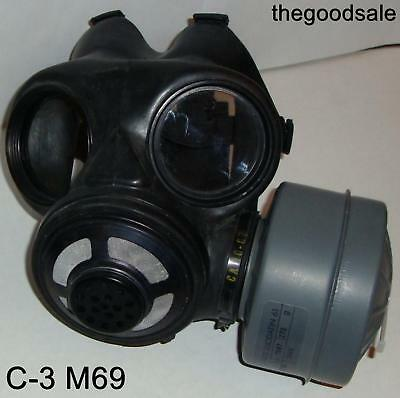 Canadian C-3 M69 Gas Mask & One 40mm SEALED NBC Canister (Size Small) exp 2022