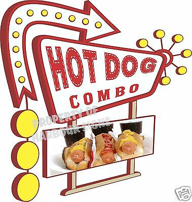 """14"""" DECAL Hot Dog Combo Concession Food Truck Vinyl Sticker Sign"""