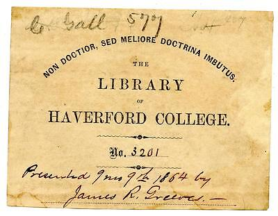 1864 Antique Bookplate Engraving Etching Haverford College Library James Greeves