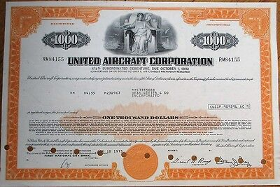 'United Aircraft Corporation' 1973 $1000 Stock/Bond Certificate - Aviation