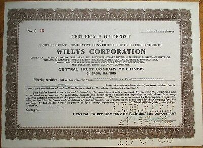 'Willys Corporation' 1921 Stock Deposit Certificate - Car/Automobile/Automotive