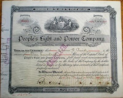 'People's Light & Power Company' 1897 Stock Certificate - New Jersey NJ