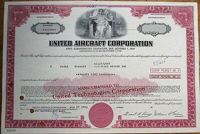 'United Aircraft Corporation' 1975 $35,000 Stock/Bond Certificate - Aviation