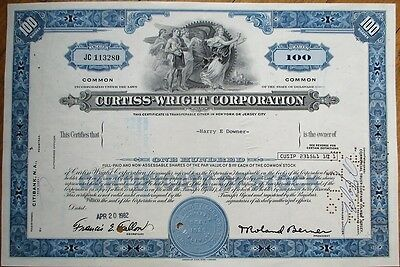 'Curtiss-Wright Corporation' 1982 Stock Certificate - Aviation - Blue