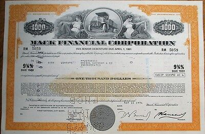 'Mack Financial Corporation' 1974 $1000 Stock/Bond Certificate - Car/Truck