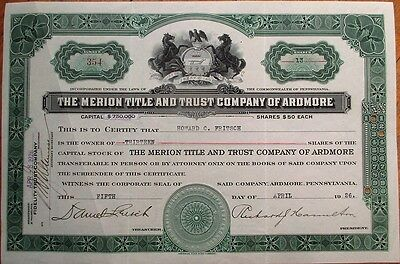 'Merion Title & Trust Co. of Ardmore, PA' 1926 Bank Stock Certificate