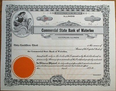 'Commercial State Bank of Waterloo, Illinois' 1920s Stock Certificate - IL