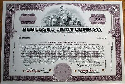 'Duquesne Light & Power Company' 1950 SPECIMEN Stock Certificate - Purple