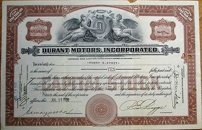 'Durant Motors, Inc.' 1928 Car / Automobile Stock Certificate