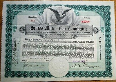 'States Motor Car Company' 1918 Stock Certificate- Greyhound Cyclecar/Automobile