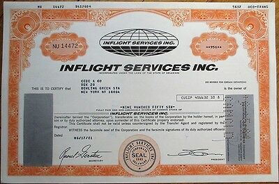 'Inflight Services, Inc.' 1981 Stock Certificate - Aviation/Airline/Airplane